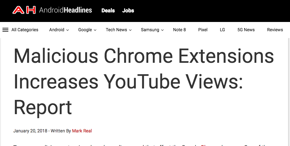 Malicious Chrome Extensions Increases YouTube Views