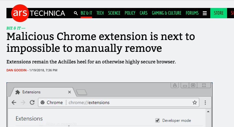 Malicious Chrome extension is next to impossible to manually remove