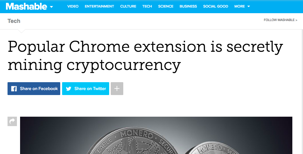 Popular Chrome extension is secretly mining cryptocurrency
