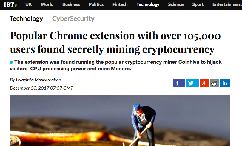 PicturePopular Chrome extension with over 105,000 users found secretly mining cryptocurrency