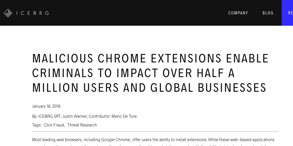 MALICIOUS CHROME EXTENSIONS ENABLE CRIMINALS TO IMPACT OVER HALF A MILLION USERS AND GLOBAL BUSINESSES