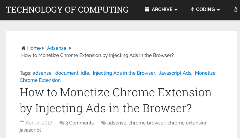 Monetize Chrome Extension by Injecting Ads in the Browser