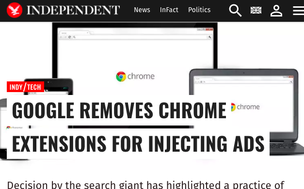 Chrome extensions injects adverts into users' browsers.