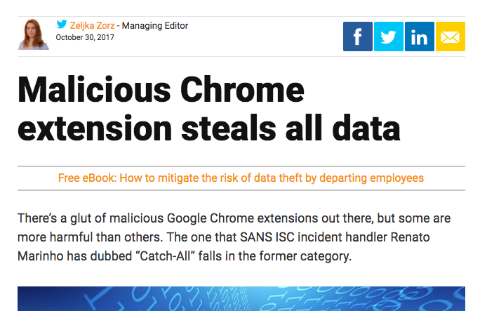 Malicious Chrome extension steals all your data