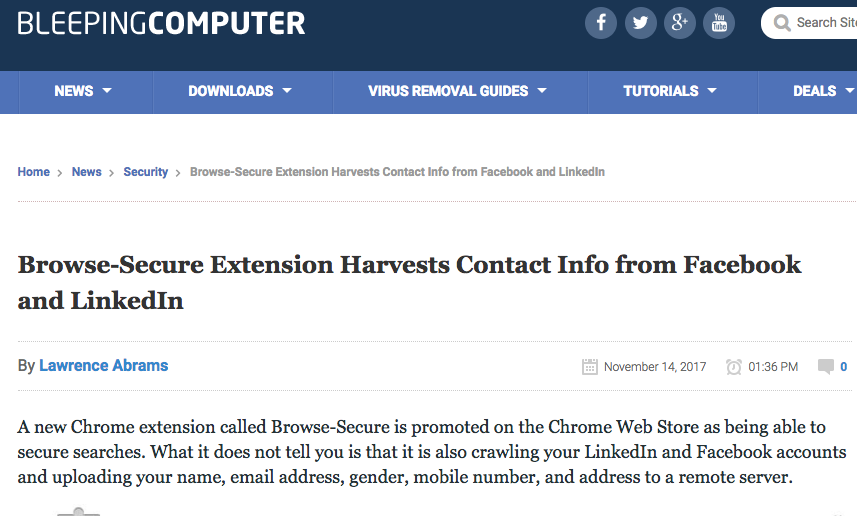 Chrome Extension steals your contact info from Facebook and LinkedIn
