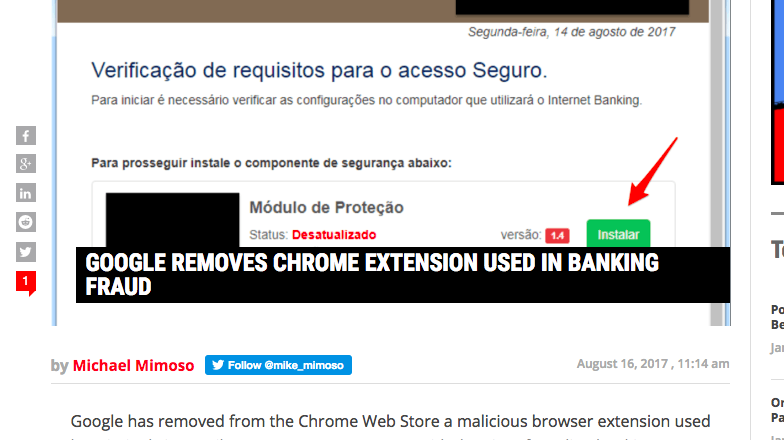 GOOGLE REMOVES CHROME EXTENSION USED IN BANKING FRAUD