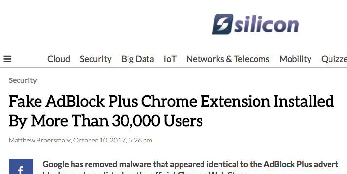 Fake AdBlock Plus Chrome Extension Installed By More Than 30,000 Users